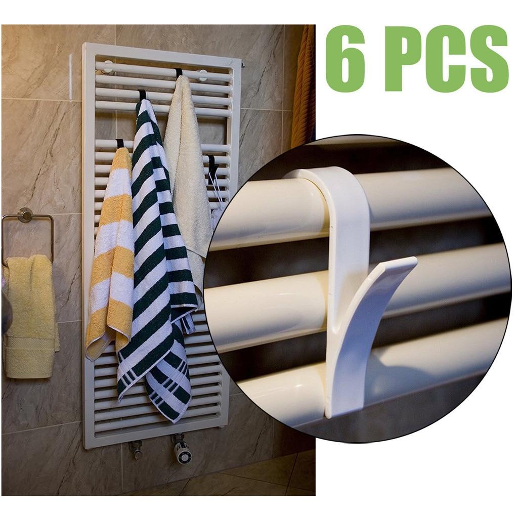 6 uds gancho para toallero percha de calidad alta para toalla calefactora radiador riel gancho de baño soporte de pared accesorios de baño