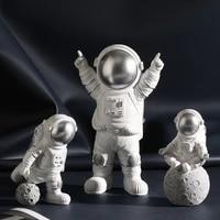 astronaut figurines modern home decor spaceman moon figures decorative desktop ornaments resin silver cosmonaut statues man gift