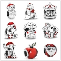 hot new christmas stitch snowman santa hat charm sterling silver 925 womens bead diy bracelet for jewelry making