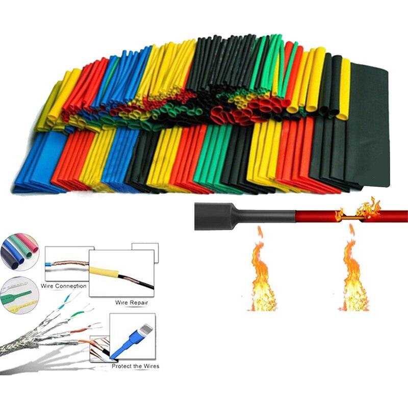 Комплект разнообразных термоусадочных трубок, полиолефиновые трубки с термоусадкой для изоляции проводов/кабелей, 164 шт/комплект