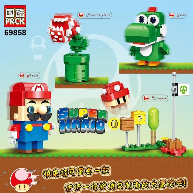 4 шт./компл. игровые приключения в стиле супер Марио микроблоки «сделай сам» бриллиантовые блоки милые Мультяшные фигурки на аукцион детски...