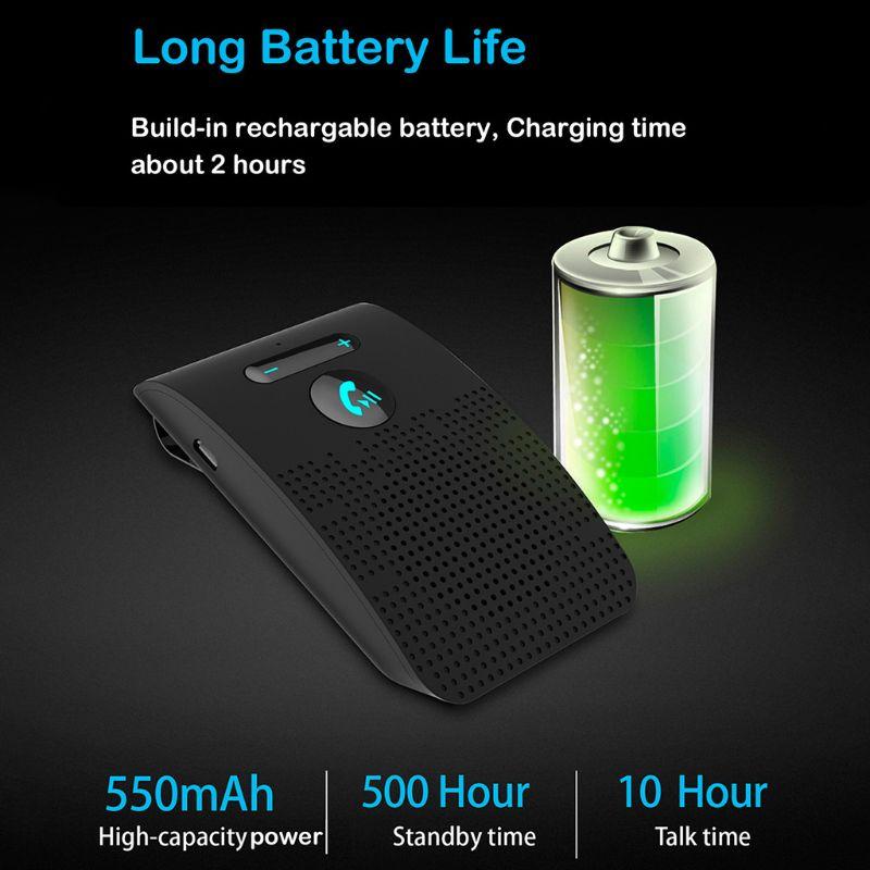 Wireless Car Bluetooth V5.0 Handsfree Kit Speaker Phone Sun Visor Clip Speakerphone