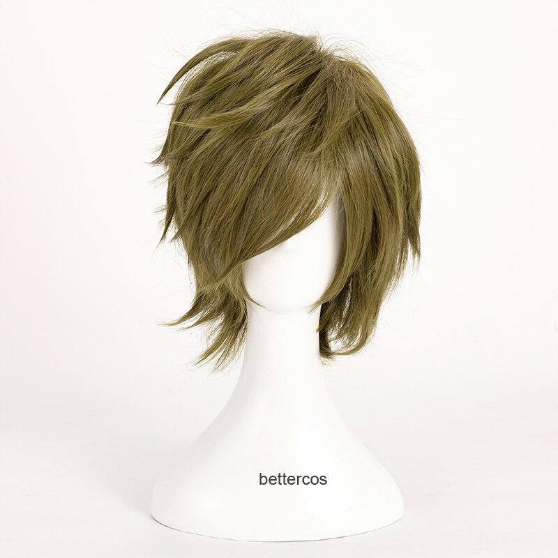 ¡Gratis! Makoto Tachibana Cosplay pelucas cortas de lino verde gris resistente al calor Peluca de pelo sintético + tapa de la peluca