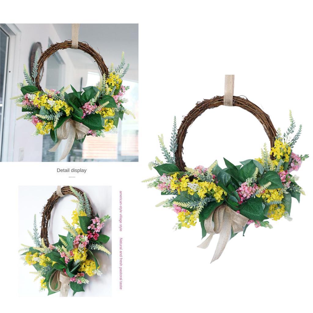 Corona de flores de lavanda hecha a mano con hojas verdes y anillo de mimbre para decoración de pared de casa o boda