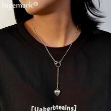 Goth acier inoxydable coeur pendentif collier ras du cou femmes mariage Boho Punk argent couleur amant Lariat longue chaîne collier bijoux