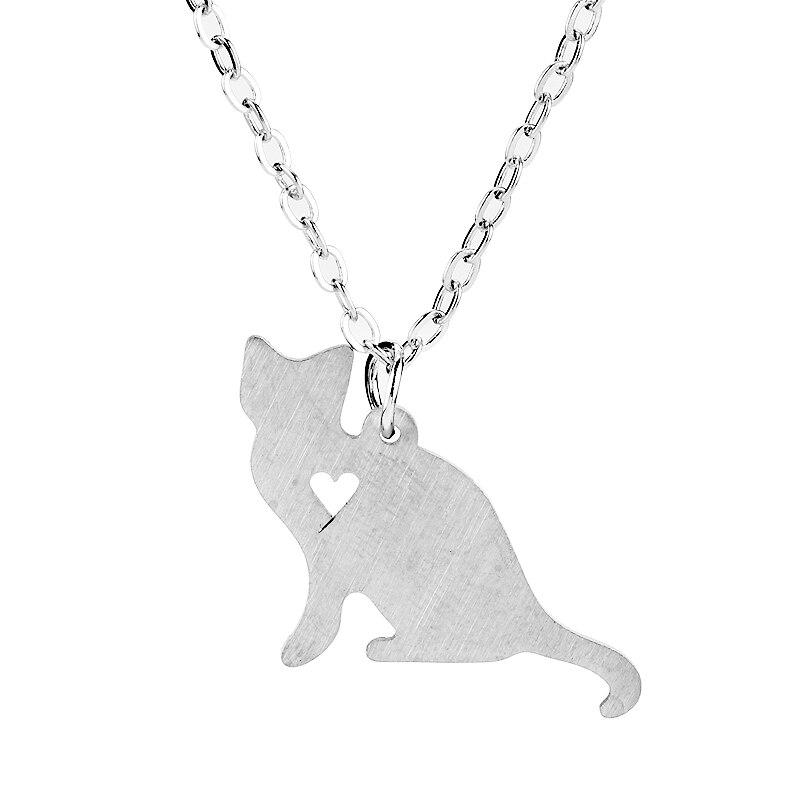 Animal bonito gato colar de aço inoxidável floresta animais mulher colar coração jewlery presente para menina
