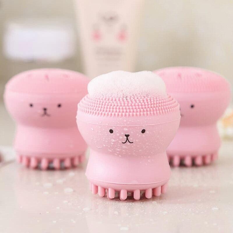 Pulpo de silicona con Forma de cara de esponja cepillo de limpieza Facial limpiador de poros exfoliante cepillo de lavado exfoliante Facial lavado de cara