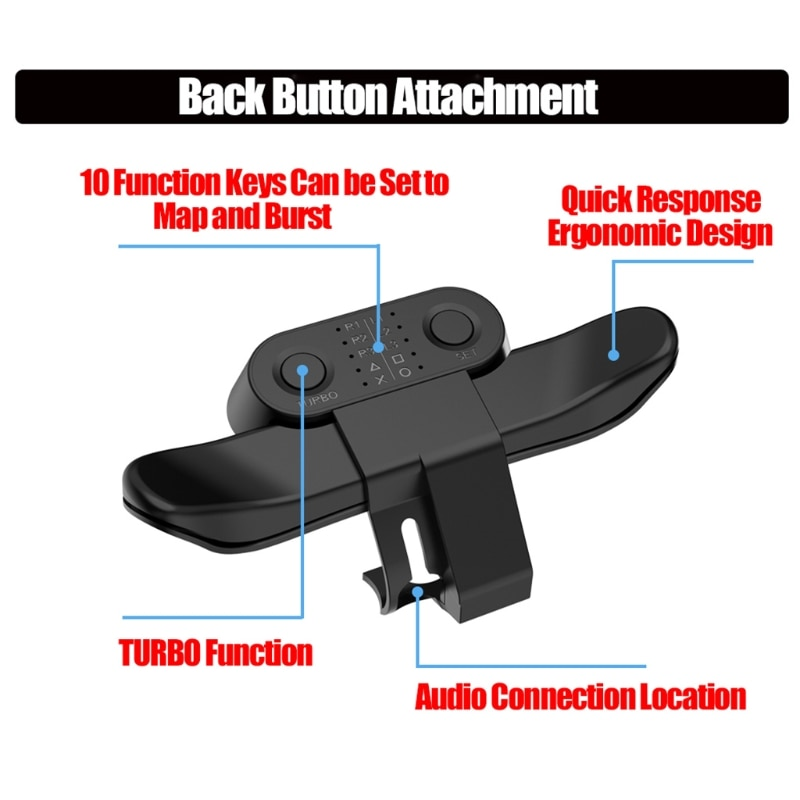 Extended Gamepad Back Button Attachment Joystick Rear Button With Turbo Key Adapter For PS4 Game Con