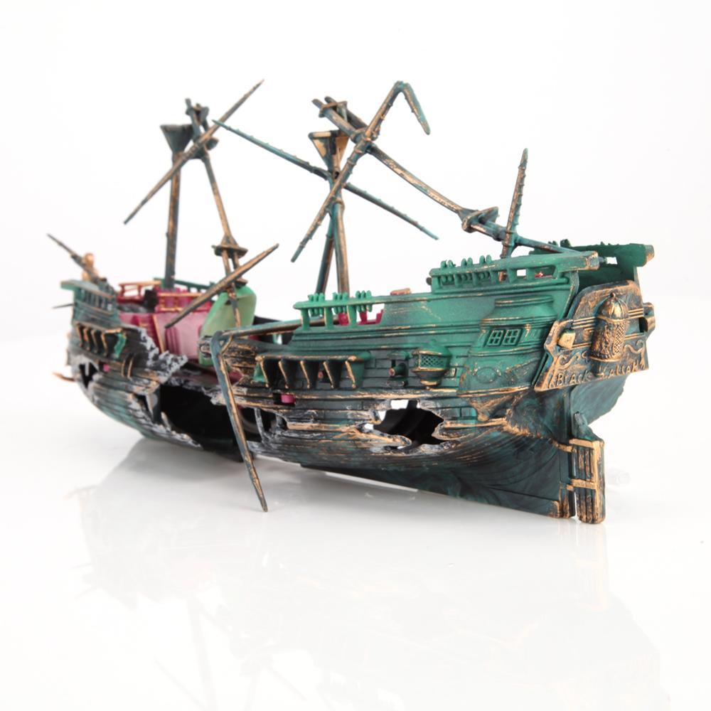 Большая разбитая Лодка Форма корабля разделенная затонувшая кораблекрушение плавающая затонувшая для аквариума украшения аквариума домашний декор