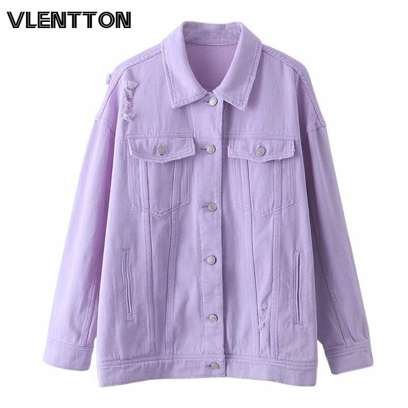 2020 primavera outono roxo oversize denim jaqueta feminina buraco sólido casual solto jeans jaquetas casaco feminino outwear topos veste femme