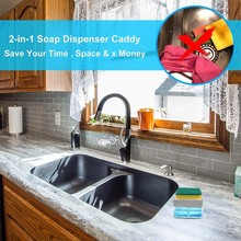 2-in-1sponge Rack Soap Dispenser Soap Dispenser And Sponge Caddy 13 Ounces Space Innovative Design High Quality Long Lasting#G30