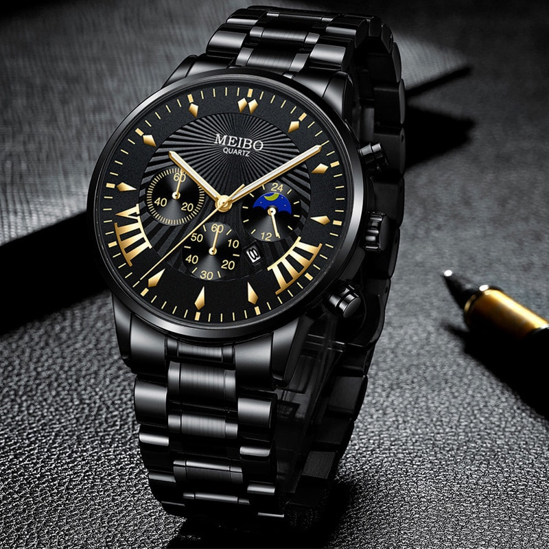 Top Men Luxury Watches Men Business Full Stainless Steel Watch For Mens Military Sport Quartz Watch Relogio Masculino Male Clock