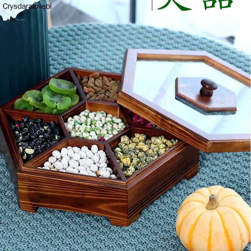 صندوق حلوى أوروبي إبداعي من الخشب الصلب مع غطاء ، صندوق وجبات خفيفة من الفاكهة الجافة ، للمنزل ، المكسرات ، البطيخ ، هدية الزفاف