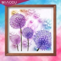 diamond painting purple dandelion scenery home decor full round drill square picture of rhinestone icon wall sticker crafts