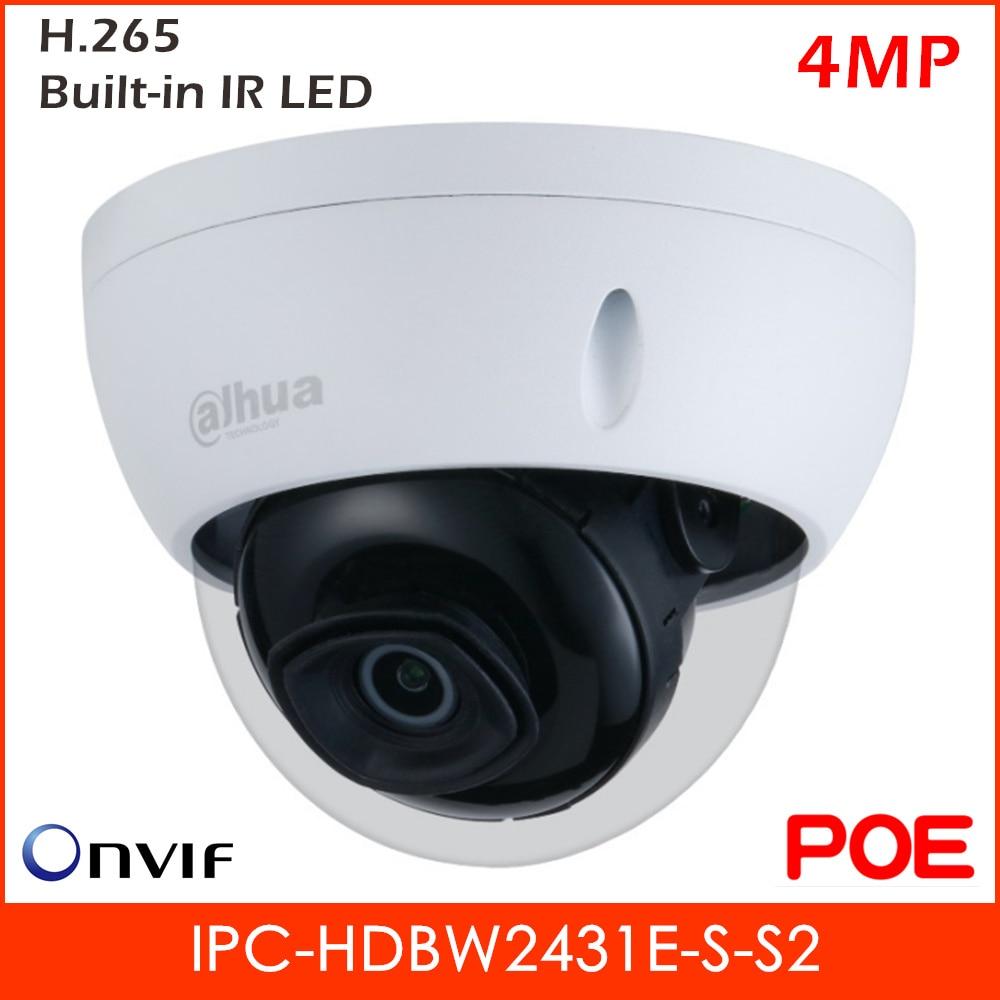 Dahua nueva Lite 4MP impermeable Mini domo IP Cámara H.265 construido en soporte LED IR 256 GB tarjeta SD y POE IPC-HDBW2431E-S-S2