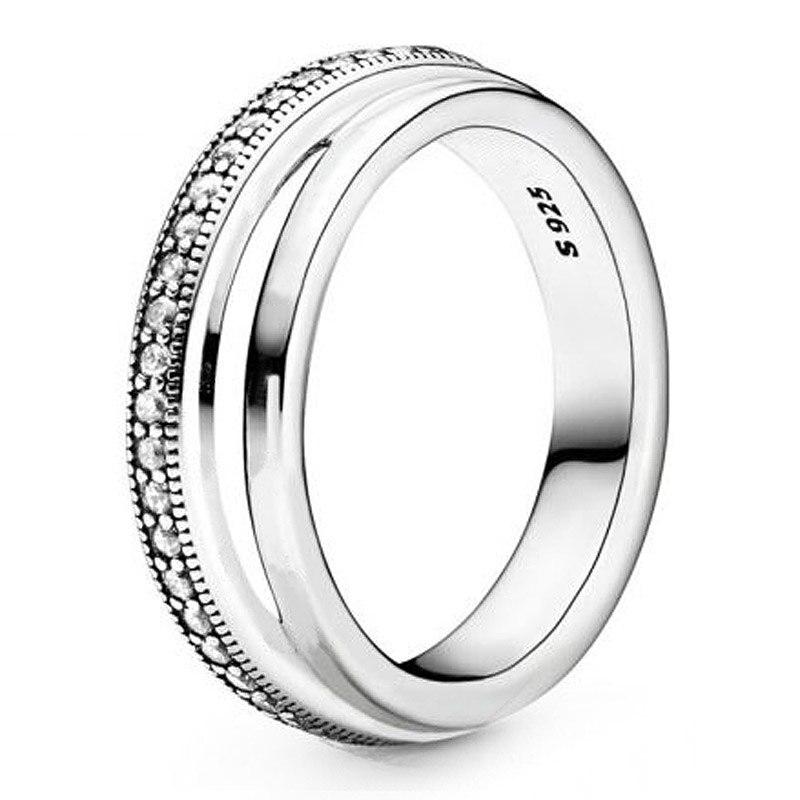 Anillo de Plata de Ley 925 auténtica, anillo de Triple banda con cristal para mujer, regalo de boda, joyería Europea DIY