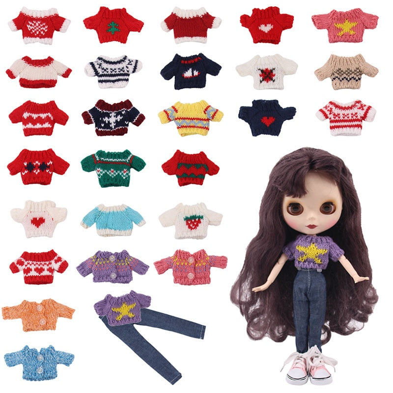 FreeShiping 2/Set Doll Clothes Sweater+Jeans Blythe Doll Clothes Toy Dress&1/6 BJD 30 Cm Blythe Doll For Our Generation Toy Gift недорого