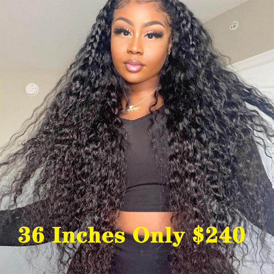 13x4 Deep Wave Frontal Wig Lace Front Human Hair Wigs For Women 5x5 HD Lace Wigs Water Wave Lace Front Wig 34 Inch Pre Plucked