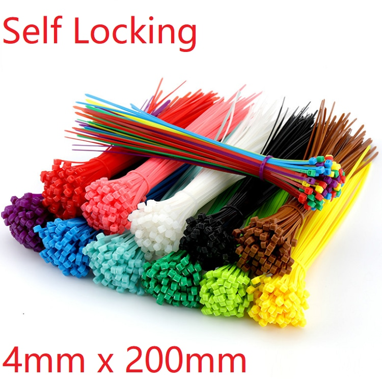 15pcs Self Locking Nylon Cable Ties 4 x 200mm Plastic Zip Tie Band Wire Binding Wrap Straps DIY Cable Fasten Organiser Colorful mayitr 10pcs black double flex cuff disposable self locking nylon cable ties plastic zip tie wire binding wrap straps