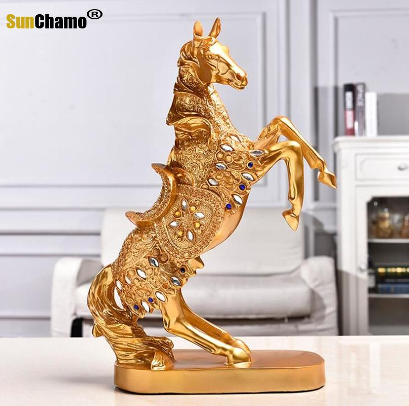 Resin Horse Statues Sculptures Feng Shui Lucky Zodiac Horse Room Office Decoration Resin Handicraft Desk Ornament Business Gifts