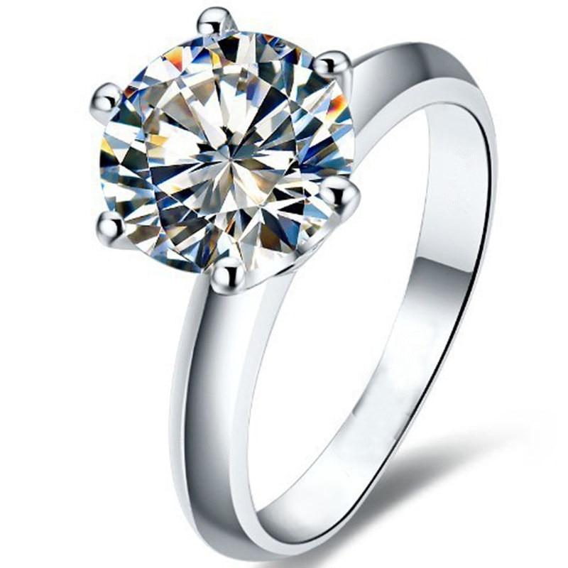 LESF 925 anillos de plata esterlina Anillos de Compromiso de plata para mujer redonda Sona diamante regalo de boda tamaño de piedra principal 1/1.5/2/3 ct
