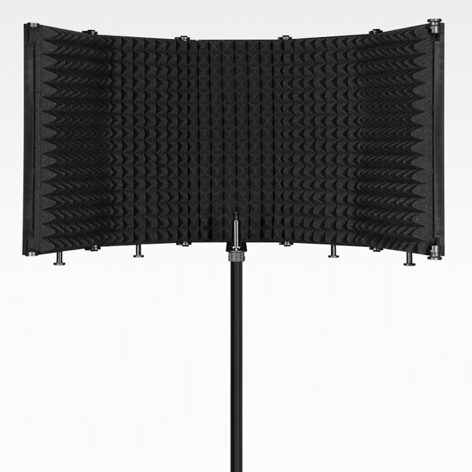Regulowany 5 Panel osłona izolacji mikrofonu składany nagrywania studyjnego Mic filtr stoisko wokalnych do nagrywania transmisji
