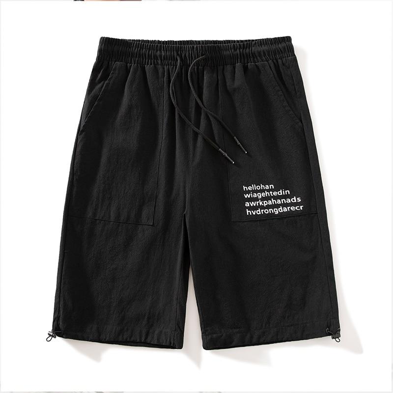 Men's summer shorts letter sweatpants men's plus size solid color drawstring shorts fitness five-point pants jogger sweatpants