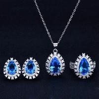 delicate water drop pendant necklace europe america luxury jewelry yellow zircon piercing earrings womens wedding eternity ring