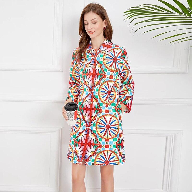 MIUXIMAO 2021 جديد الخريف المرأة الملابس التلبيب كم طويل تويد الطباعة معطف الموضة عادية