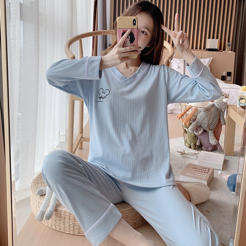 Pajamas Female Long Sleeve Spring and Autumn Pure Cotton Students Sweet and Lovely Summer Thin Home