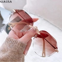 2021 rimless sunglasses women brown fashion glasses vogue vasos decorativos moda mujer lunette de soleil femme zonnebril dames