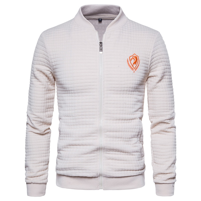 2020 New Spring Eagle Embroidery Sweatshirt Men Cardigan Stand Collar Bomber Jacket Men Casual Plaid Zipper Mens Sport Jacket