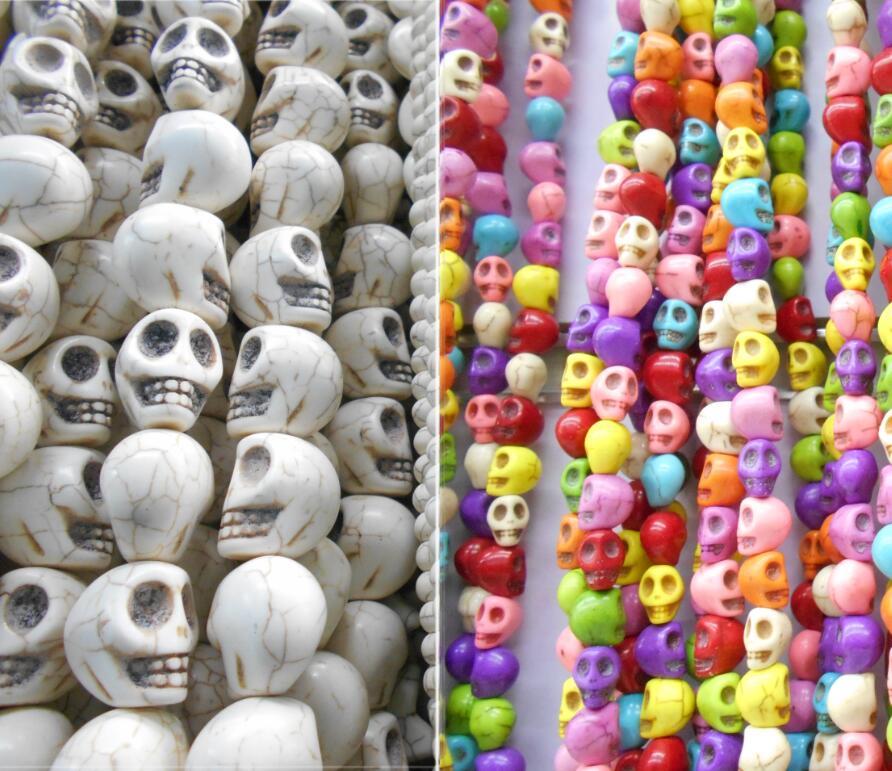Lote de 35 unidades de 10x9x8mm, cuentas de piedra con forma de calavera de colores variados, accesorios para fabricación de joyas, envío gratuito