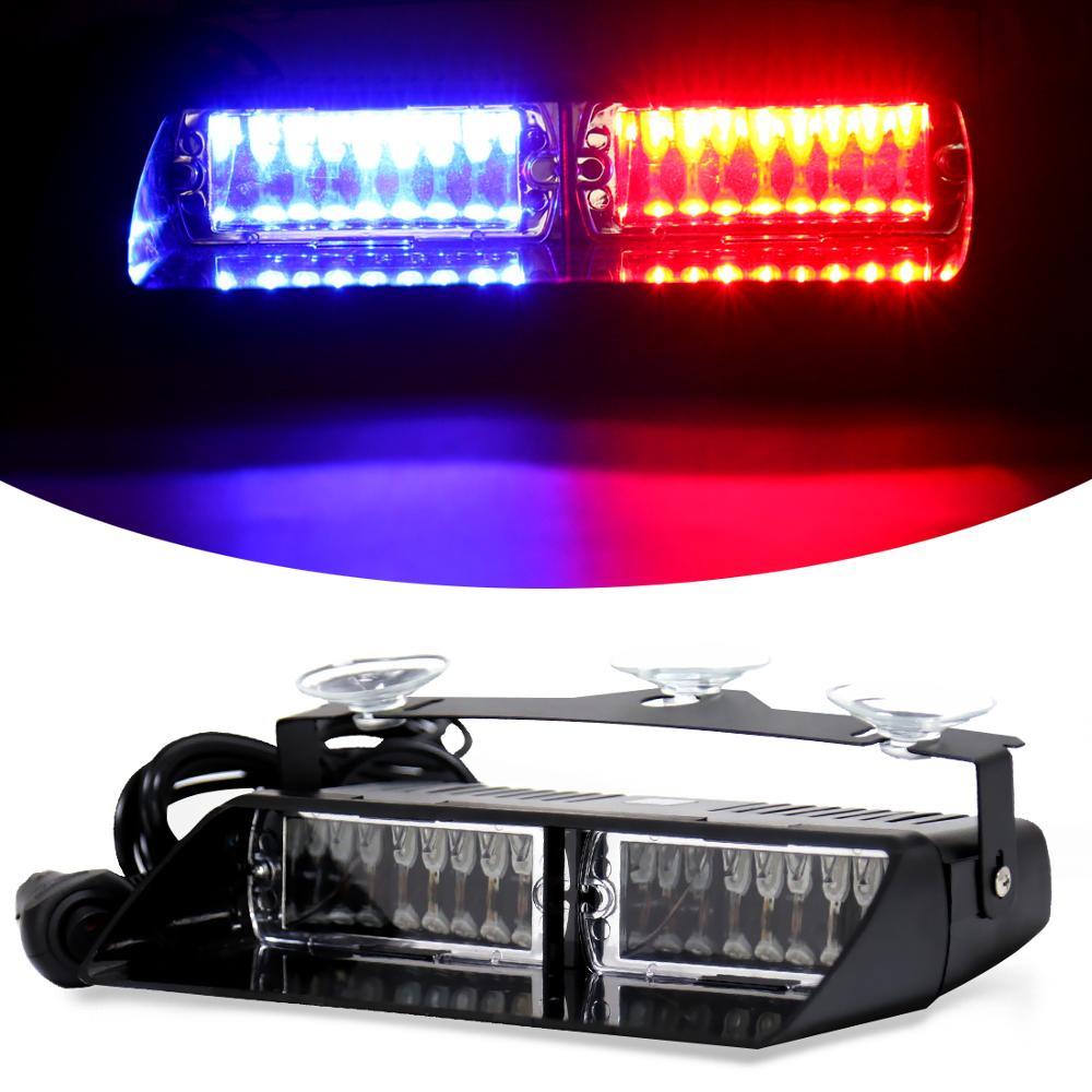 S2 16 led carro strobe flash luz rgb 7 cor mutável carro sinal de emergência polícia brisa luz de advertência para viper estilo