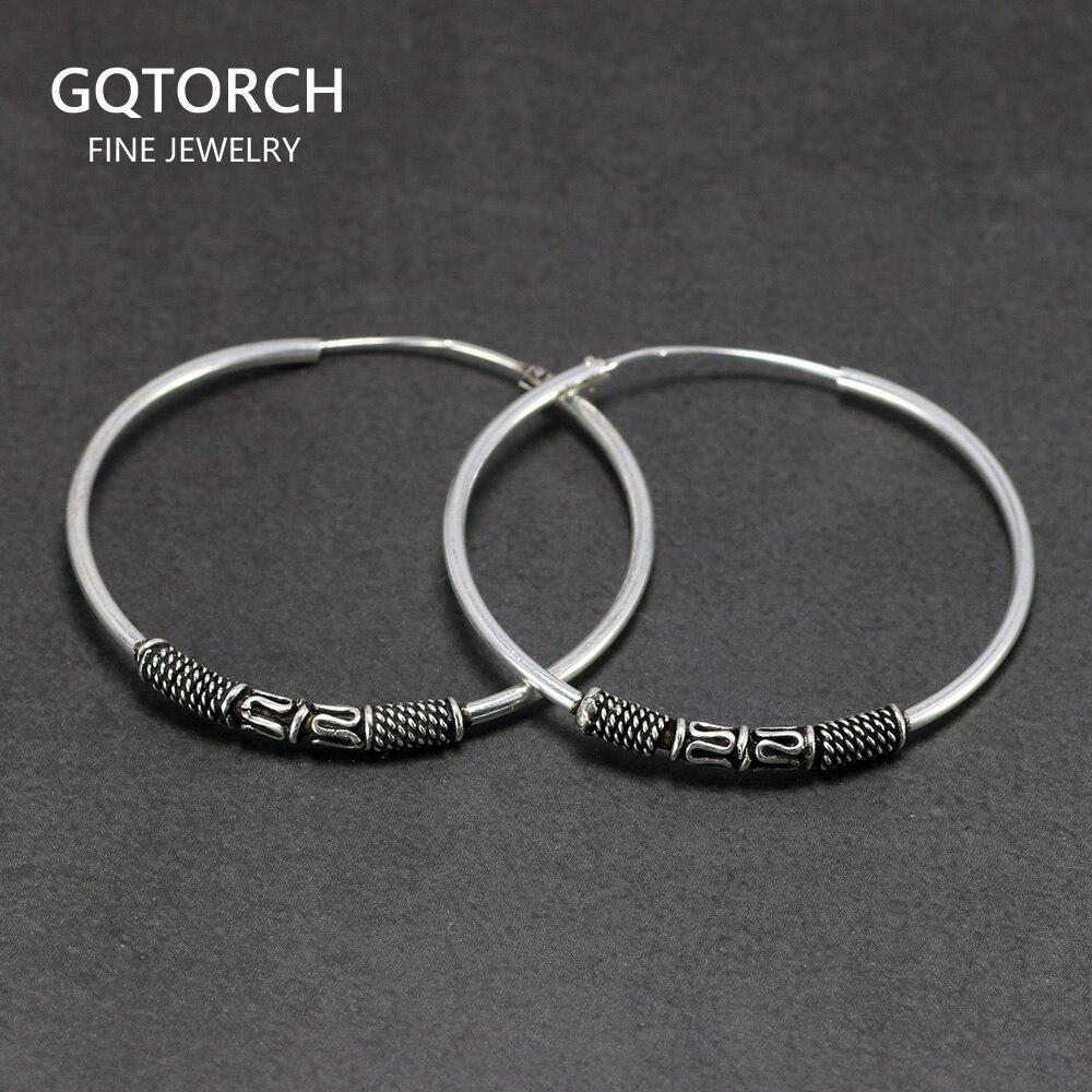 Pendientes grandes de aro de 35mm para mujer con bobinas apacibles pendiente redondo círculo de plata esterlina 925 joyería de plata tailandesa antigua