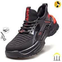 Autumn Safety Shoes steel toe Men, Fashion Anti-smashing Men's Work Shoes, Black Breathable Comforta
