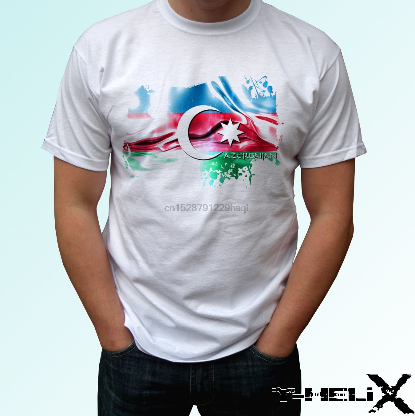 Bandera de Azerbayán, camiseta blanca, diseño superior para hombres y mujeres, tallas de bebé, camiseta a la moda, Camiseta de algodón 100%