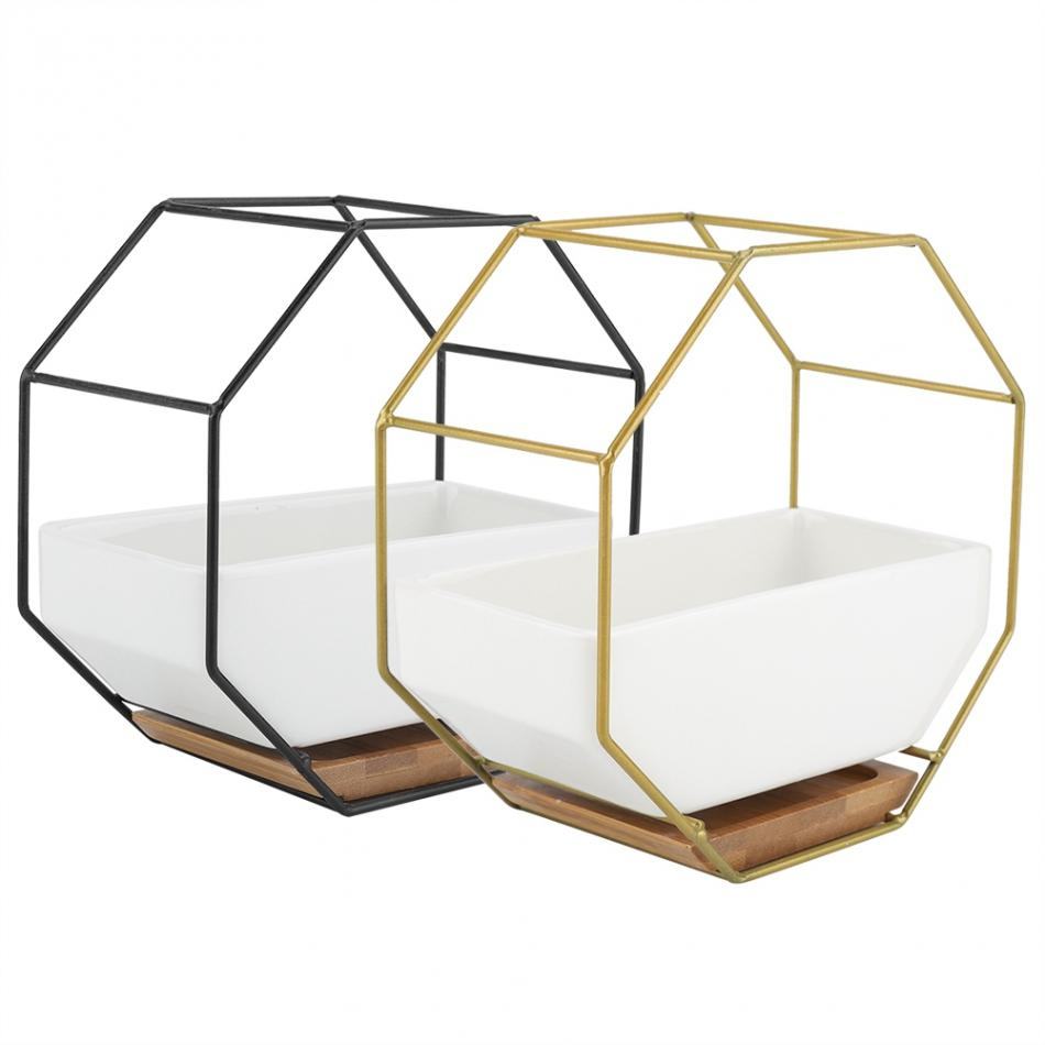 Creative Pots Nordic Minimalist Geometry Gold Iron Shelf Succulent Desk Plant Pot Green Flower Pot Desktop Pot Flower Vase Decor