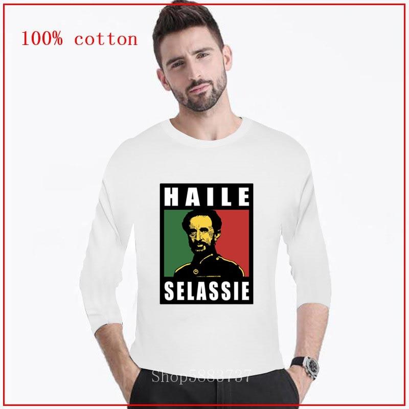 2020 camiseta haile selassie rastafarian jamaicano africano rei judah moda estilo clássico camiseta longa masculina