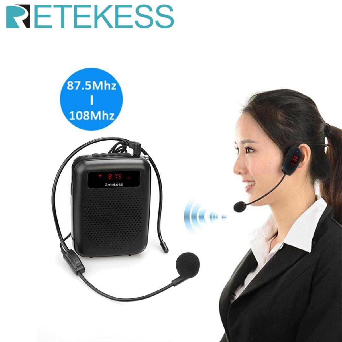 RETEKESS PR16R مكبر الصوت المحمولة مضخم صوت المعلم ميكروفون المتكلم 12 واط FM تسجيل مع مشغل Mp3 راديو FM مسجل