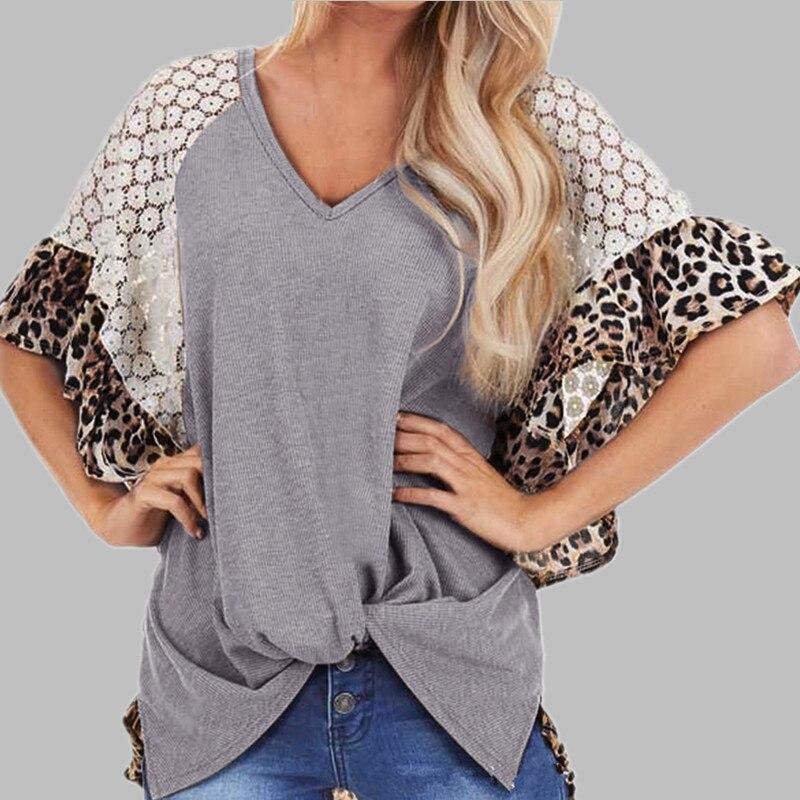 2020 mujeres verano Puff manga de encaje ahuecado de malla leopardo empalme anudado Blusa de encaje retales de leopardo Camisa de media manga