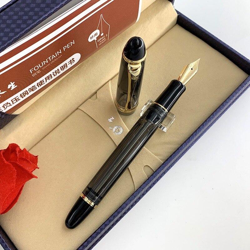 Wing Sung 699 Fountain Pen Translucent 14K Gold Vaccum Filling Fountain-Pen Fine Nib Pen School Office Supplies Stationery Gift