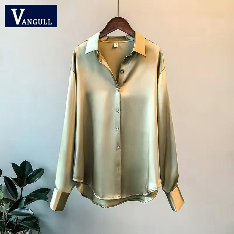 Vangull Spring Solid Color Satin Blouse Women Single Breasted Long Sleeve Female Blouse Vintage New Elegant Imitation Silk Tops