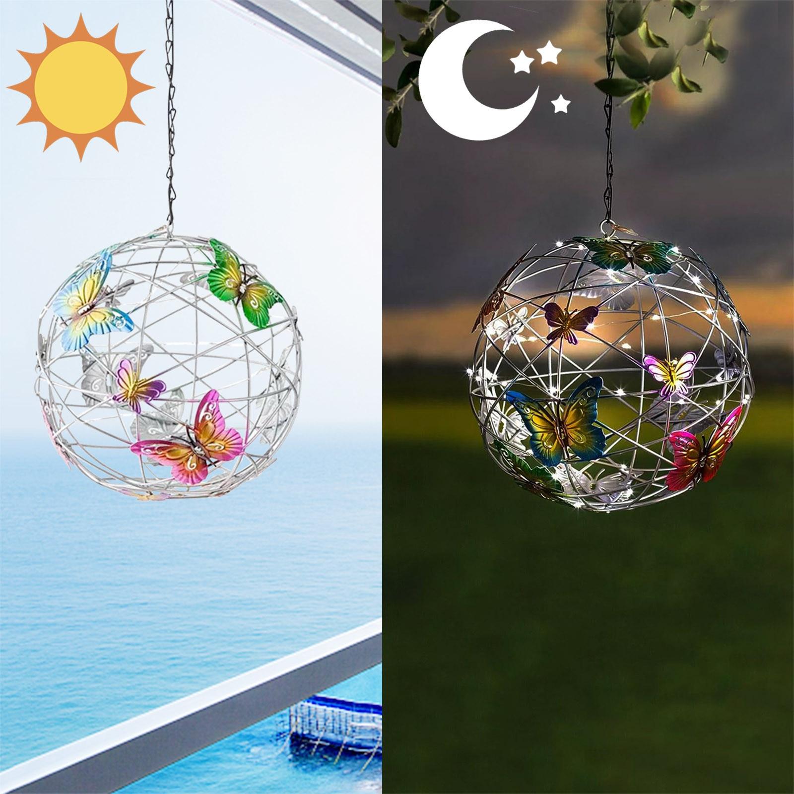 Orb de malla colgante con luz Solar, bola de cristal con mariposas...