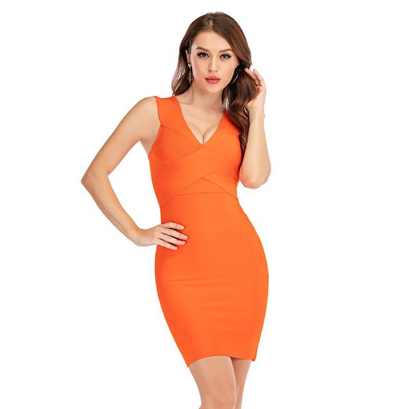 Elegante vestido de fiesta para señora, sexi ceñido y, sin mangas, en color naranja o verde, con escote triangular, para fiesta de verano