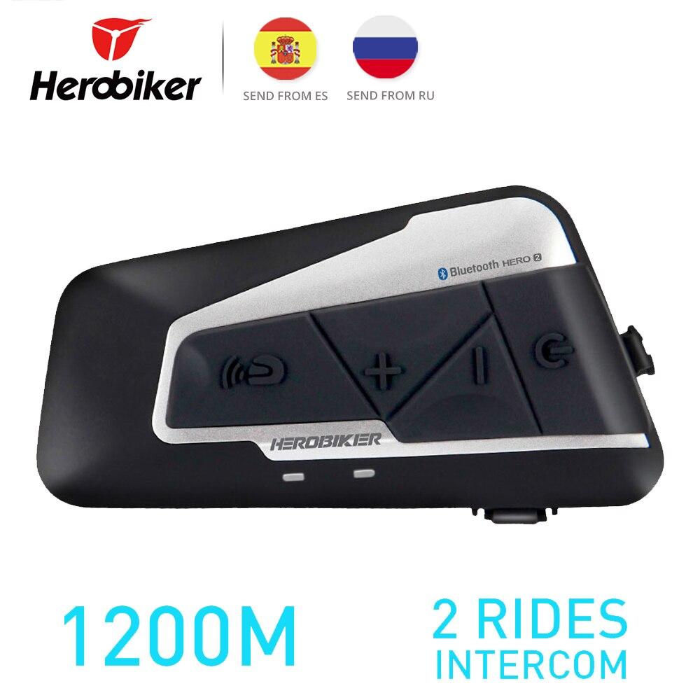 HEROBIKER 1200 м BT мотоциклетный шлем домофон водонепроницаемый беспроводной Bluetooth Мото гарнитура переговорные с FM радио для 2 поездок