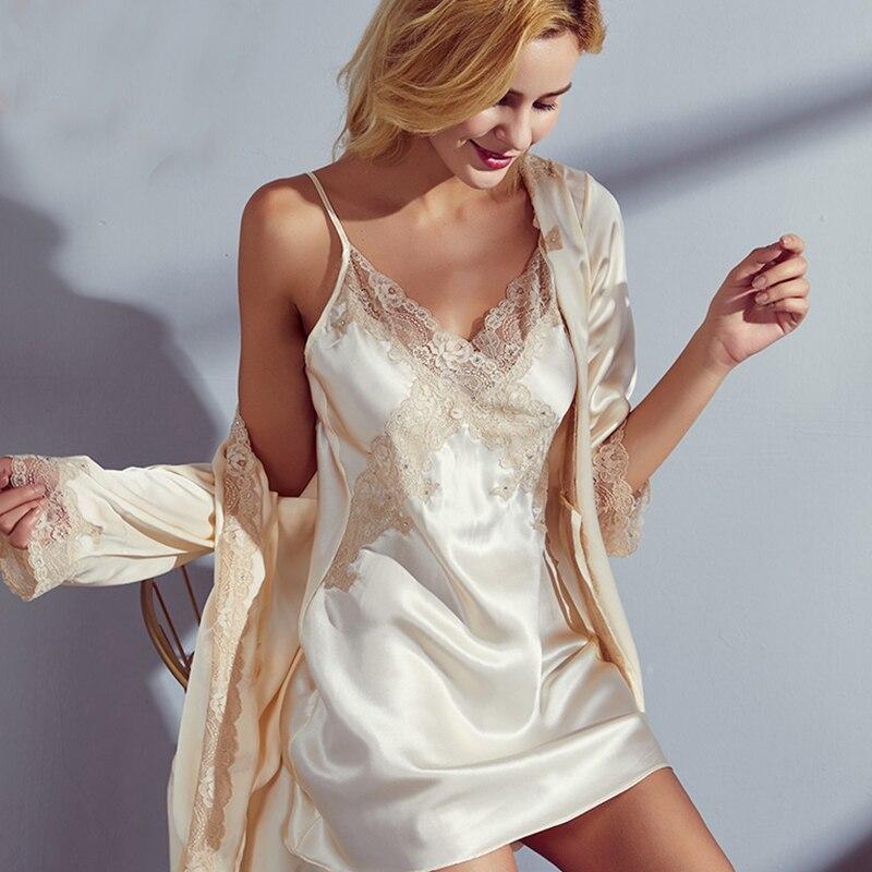 New  Silk Pajamas  Women  Pyjamas Female Summer Sexy Nightdress Kimono & Robe Nightgown Female 100% Silk Two-piece Set Sleepwear