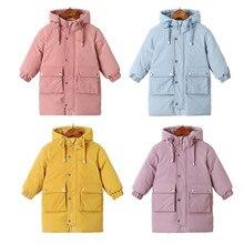 Warm coats Winter clothes Long Down Jacket Kids Korean Thick Hooded Jacket Baby Boys& Girls Snowsuit Winter Jacket Kids parka