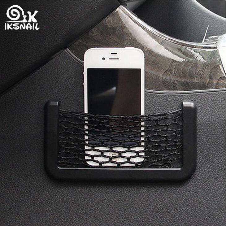 IKSNAIL Car Storage Net Bag Auto Accessories for Renault Duster Laguna Megane 2 3 Logan Captur Clio Sticker Pocket Organizer Net