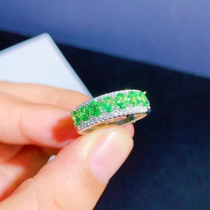 Get Jewelry 100% Natural Tsavorite Ring for Daily Wear 7Pieces 3*4mm Tsavorite Silver Ring Fashion Silver Gemstone Ring